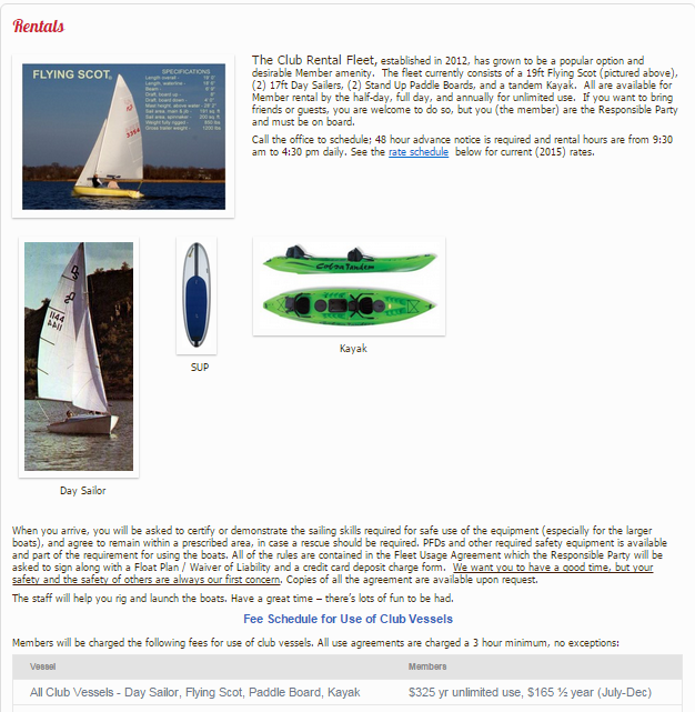 That Rental Site: SSS Web Site Features … Rental Boats & Ship's Store